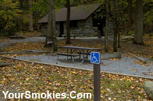 Accessible picnic site in the Chimneys picnic area of the Great Smoky mountains national park