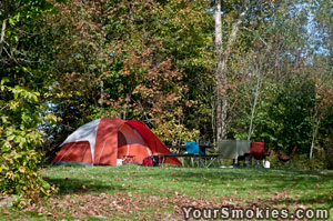 Tent Campsite at Balsam Mountain Campgrounds