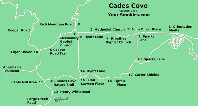 Cades Cove driving tour map by your Smokies.