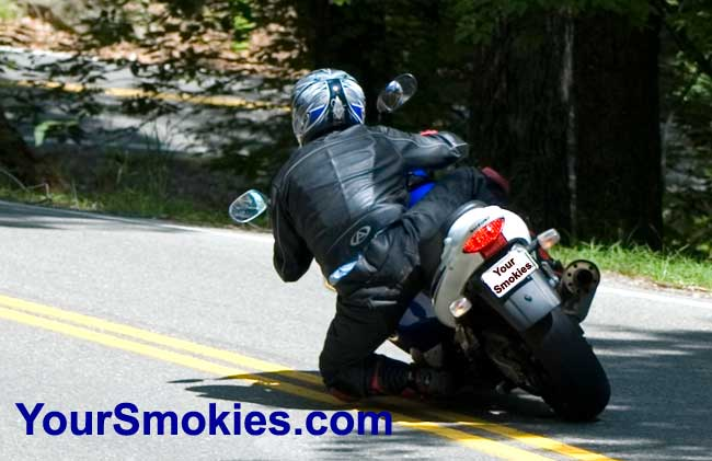 Extreme motorcycle riding in the Tail of the Dragon on US 129 in North Carolina
