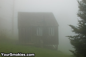 A Mount LeConte rental cabin in dense fog.