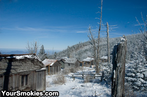 Cabins at Mount LeConte Lodge in Winter