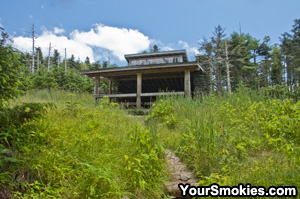 Mount LeConte Primitive Shelter in summer.