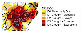 North Carolina and Tennessee areas affected by this year's drought